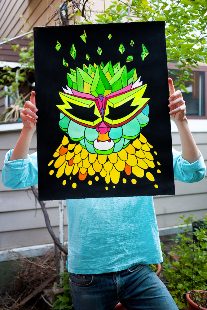 Crystal King Pinkcat painting by Magda Wojtyra and Marc Ngui