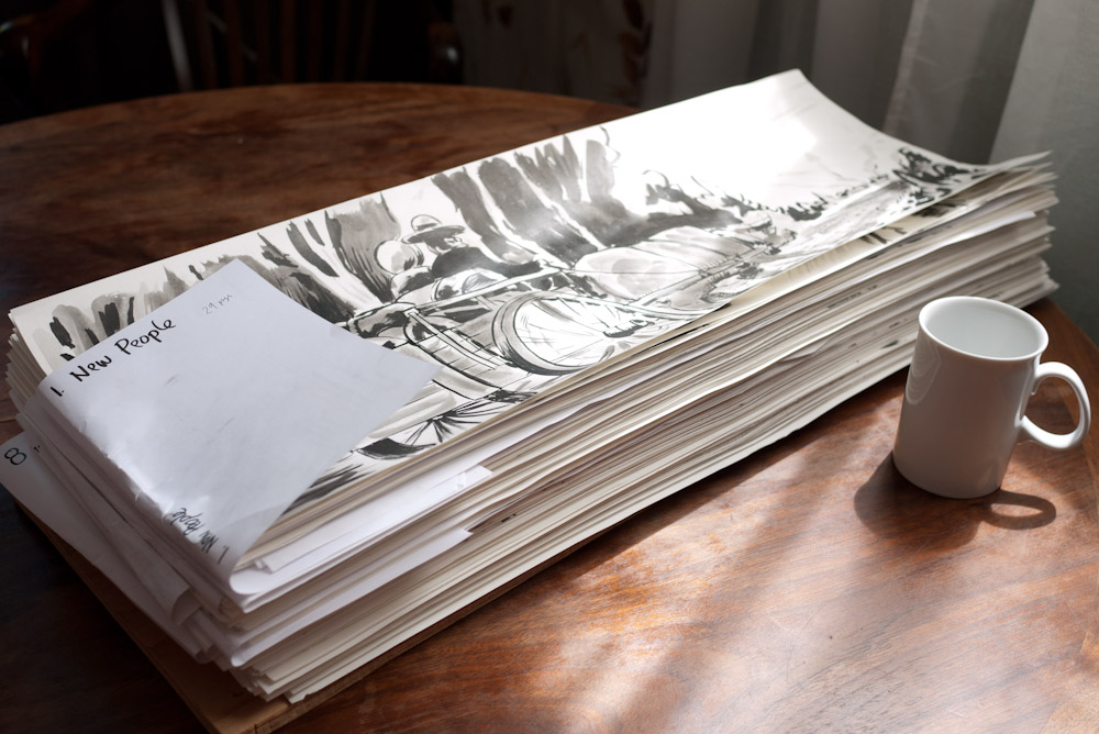 Olden County graphic novel stack of drawings