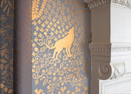 Grey wall hand painted with metallic flowers and wolf by Ava Roth.