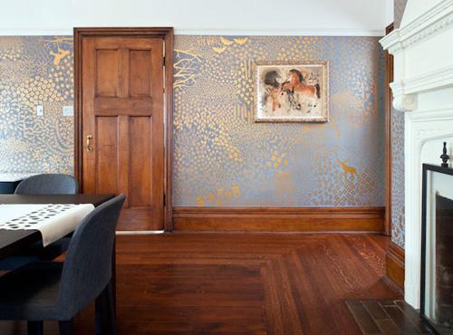 Livingroom wide view of painted walls.