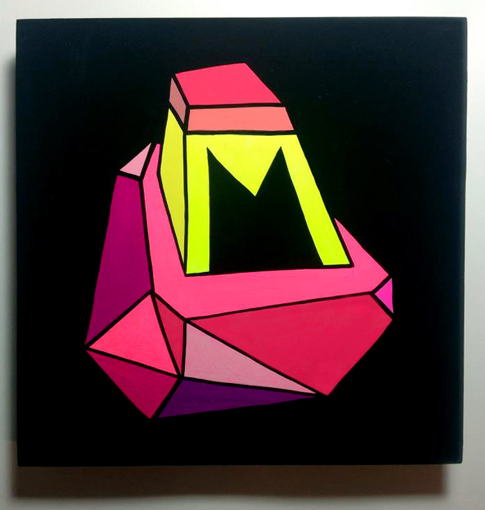 Small abstract, geometric painting on a black background.