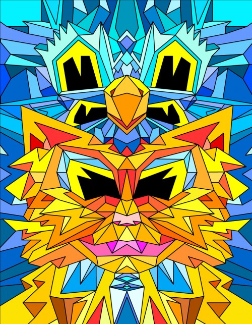 Crystal King Fire Cat Ice Bird, digital proof (Flash drawing), 2013