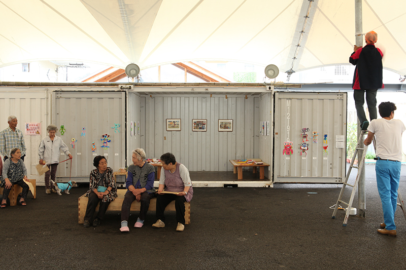 Daily Bravery and Tandem Flight Onagawa monsters installation view inside shipping containers.