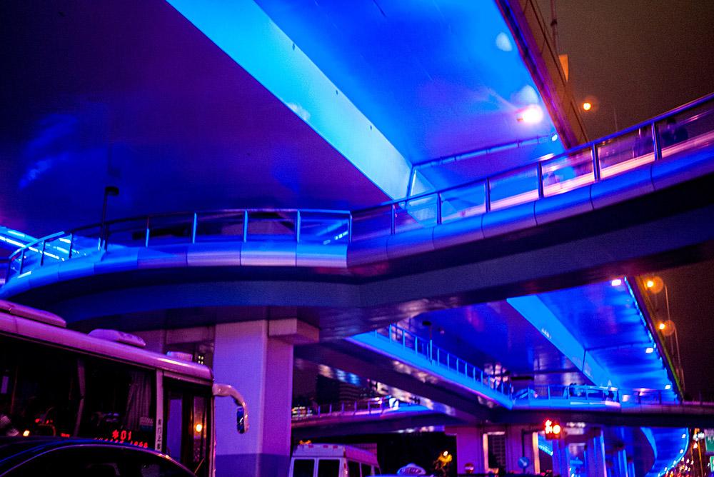 Shanghai highway underlit with blue light