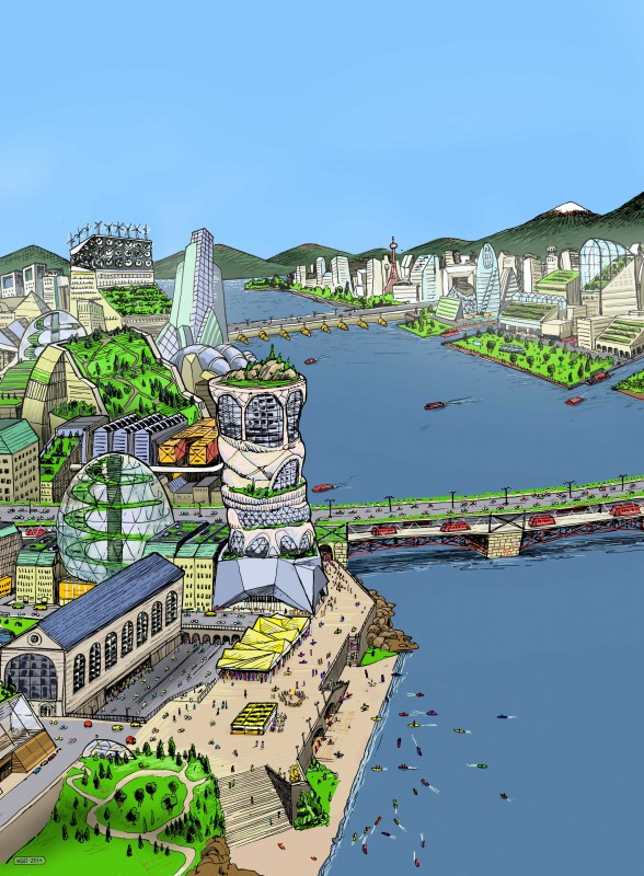 Image of sustainable city illustration for ReNew Canada