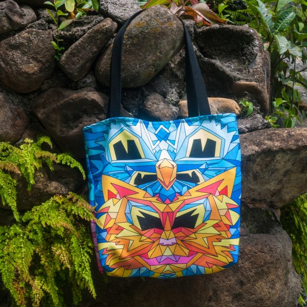 Colorful geometric cat bag