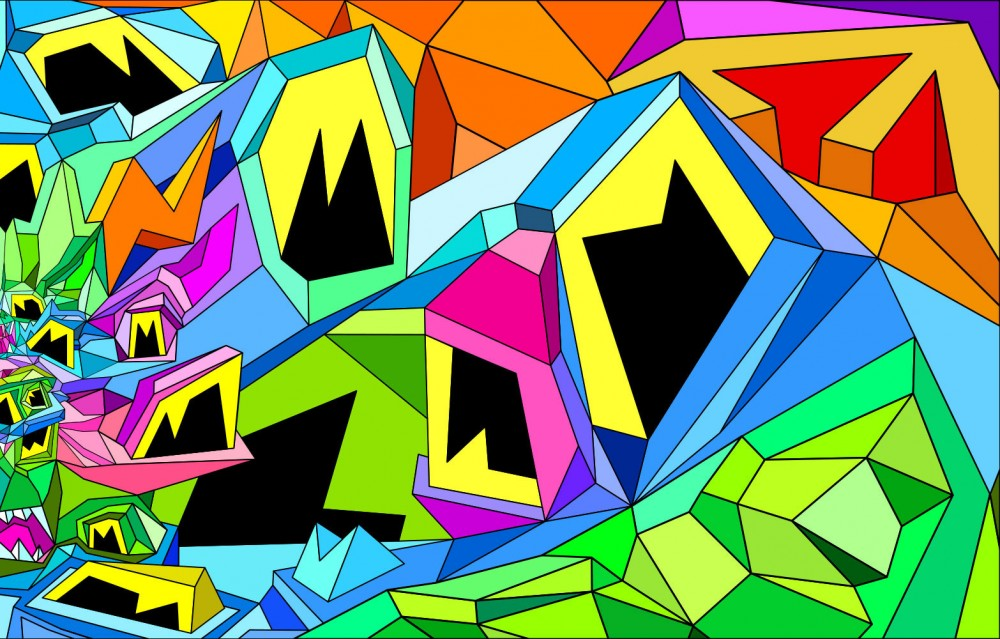 Geometric and colorful composition of Crystal King Lagoon