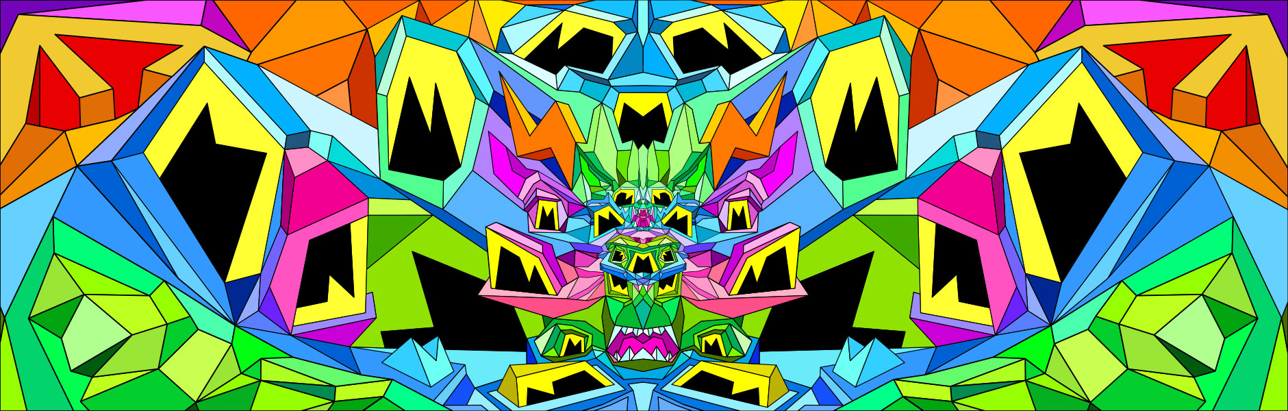 Geometric, colourful art composition with strong left-right symmetry.
