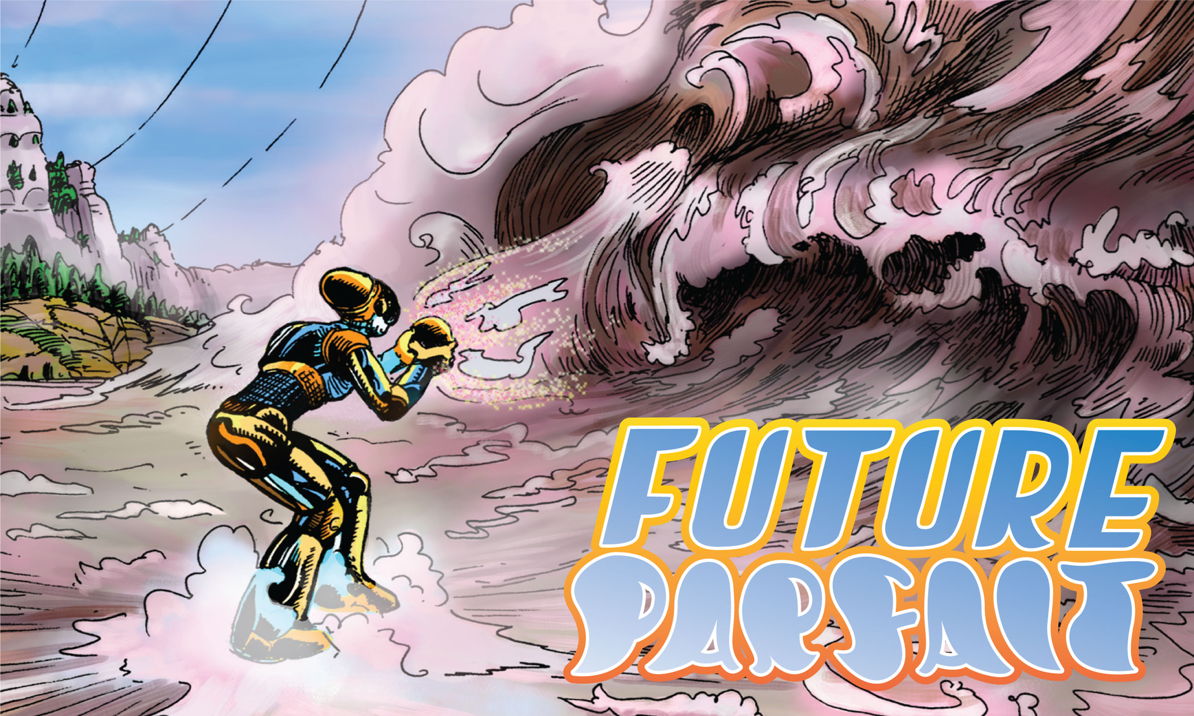 splash page for Future Parfait showing a resident on the terraforming training field.