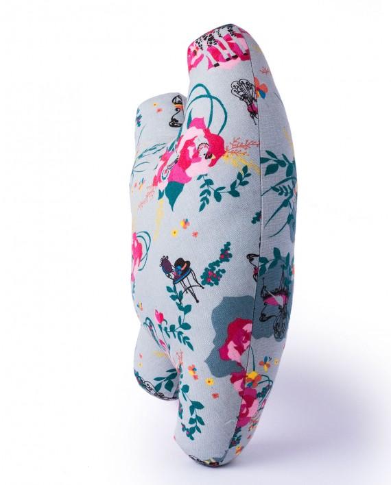 Grey and pink print fabric stuffed animal handmade by Happy Sleepy