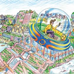 Flying car over utopian city.