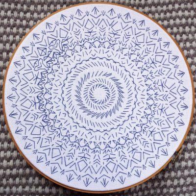 white-linen-blue-embroidery-mandala-process