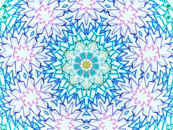 Koleidoscope filtered photo of a small part of the embroidered mandala.