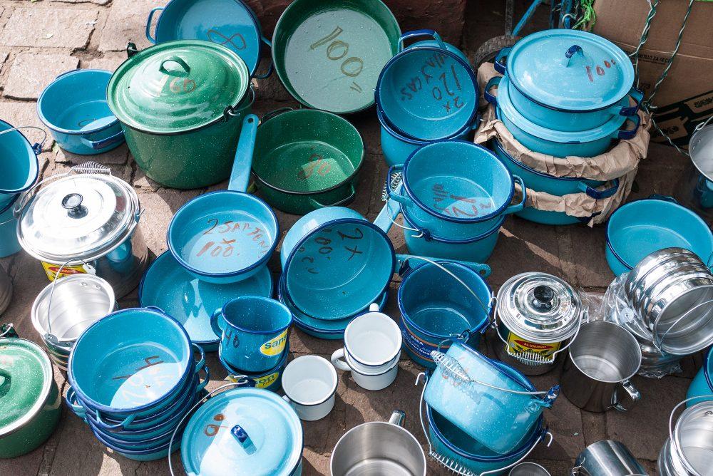 Blue pots Tepoztlan, Mexico