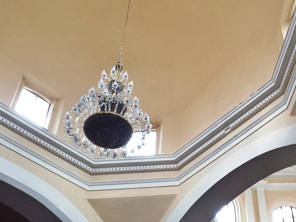 chandelier and soaring ceiling
