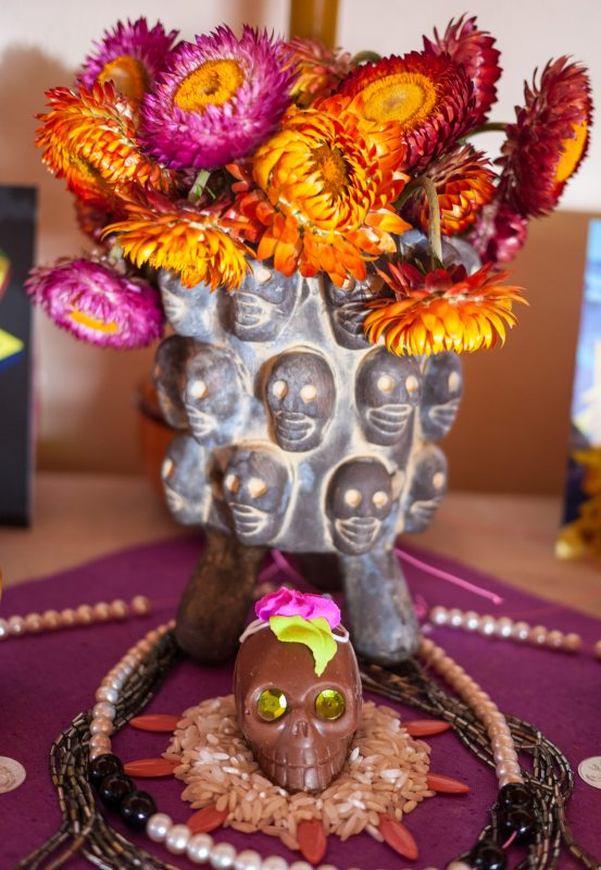 chocolate-sugar-skull-and-dried-flowers