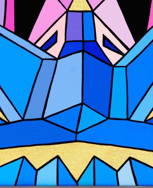 Crystal King Chapeau original painting, detail