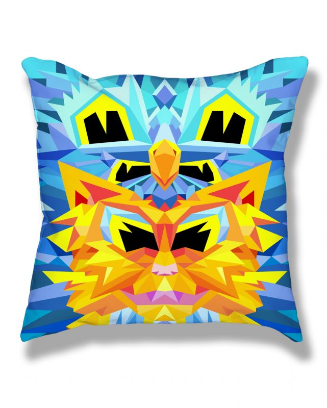Crystal King Firecat pillow, front