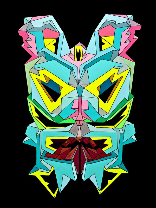 Geometric painting by Marc Ngui and Magda Wojtyra titled Crystal King Scrappy blue and yellow and black