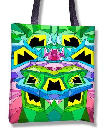 Tote bag with all over geometric colorful printing
