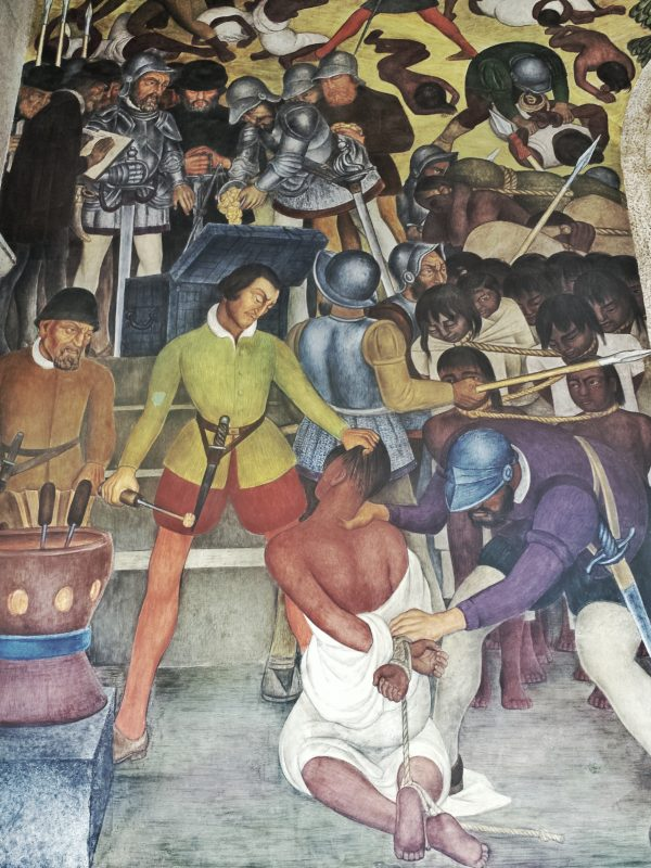 Detail of Diego Rivera murals in the Palace of Cortes.