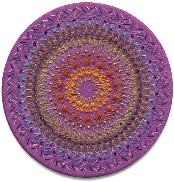Purple silk mandala with carnelian and glass beads
