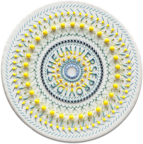 Embroidered mandala with yellow beads