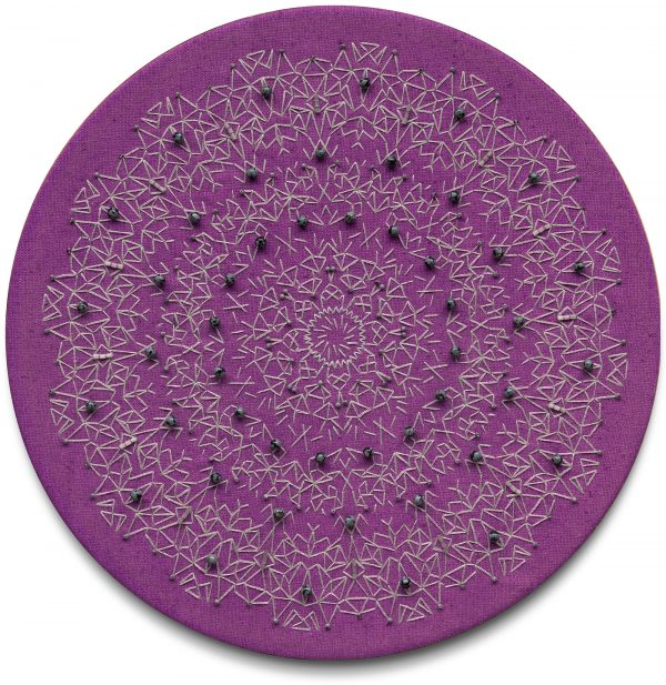 Purple and grey embroidered kaleidoscopic mandala textile art