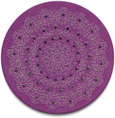 Textile art embroidered silk semiprecious stones mandala