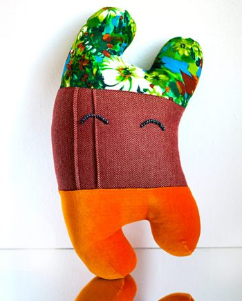 Happy Sleepy Lyon textile art toy