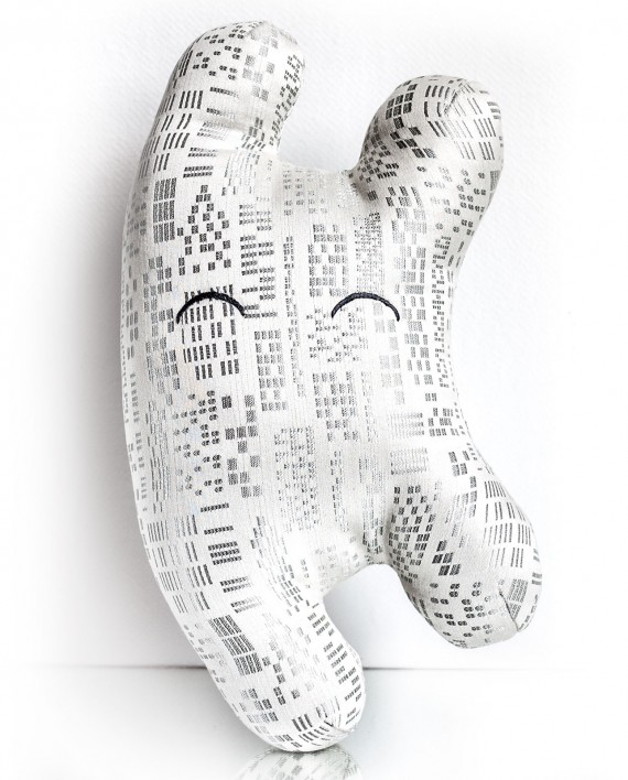 White and silver textile sculpture front