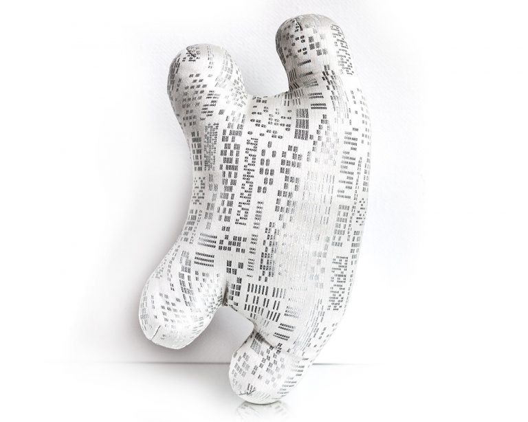 White and silver textile sculpture back