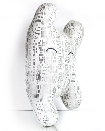 White and silver textile sculpture from the side