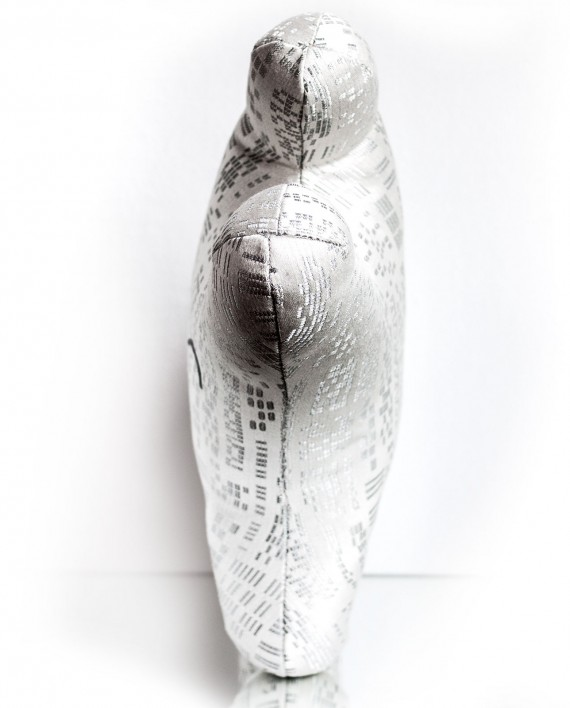 White and silver textile sculpture from the top