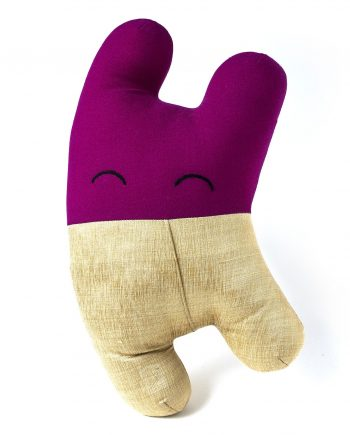 Luxury art toy by Happy Sleepy in gold silk and purple wool
