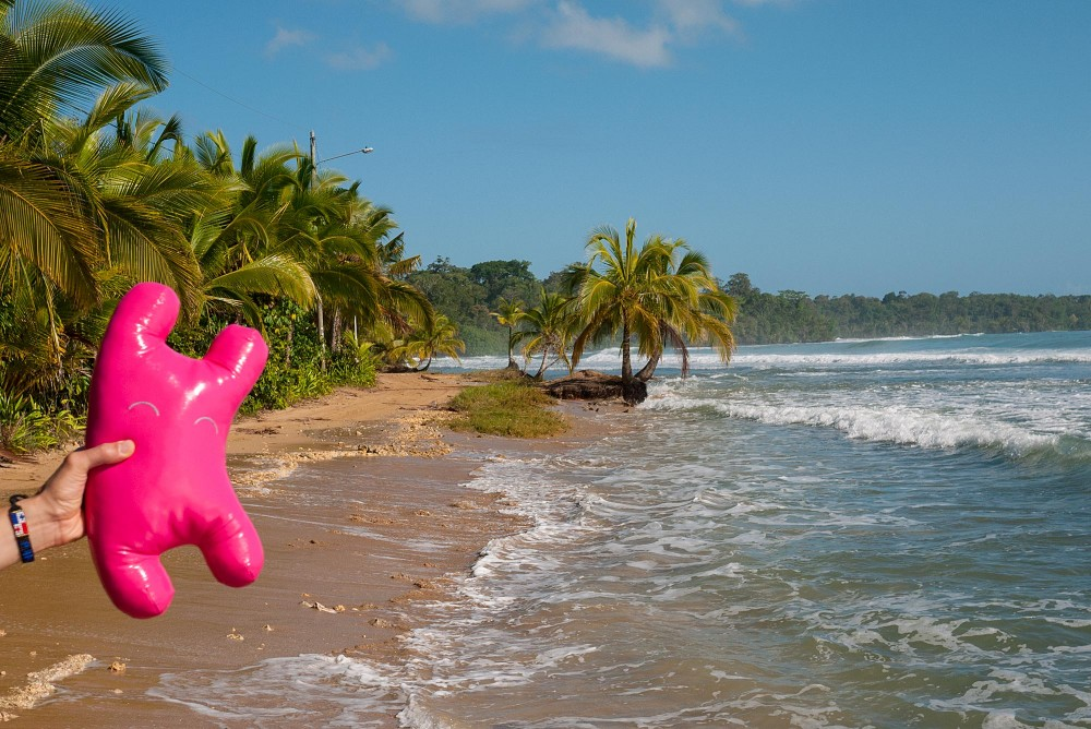 Happy Sleepy Bolt stuffed animal in the hot Panama sun with surf and palm trees