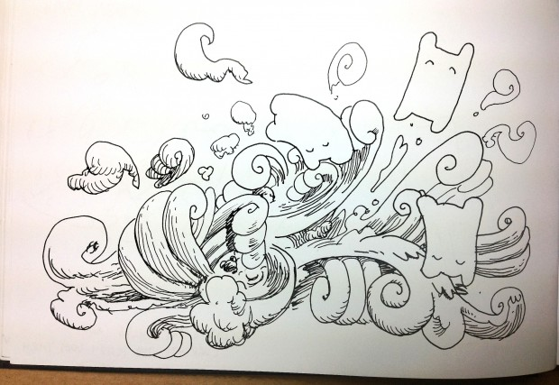 Happy Sleepy Tumble and Surf ink drawing by Marc Ngui