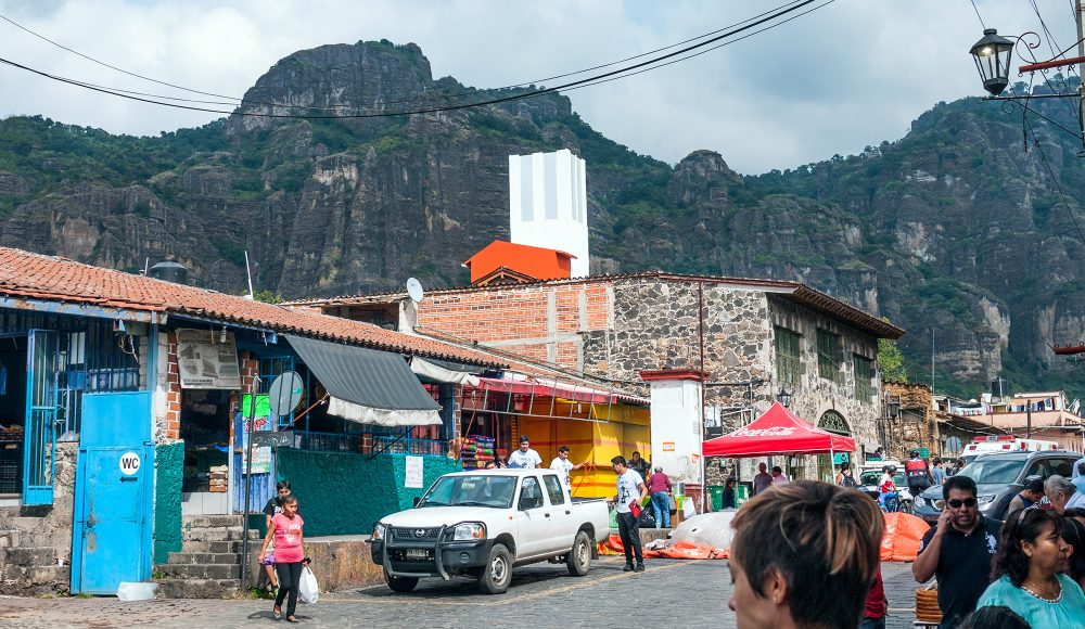 Tepoztlan street with mountains