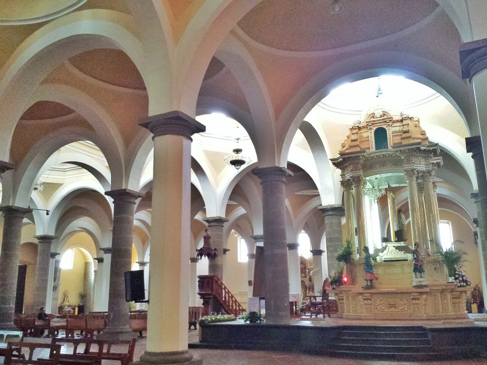 Church interior architecture columns arches