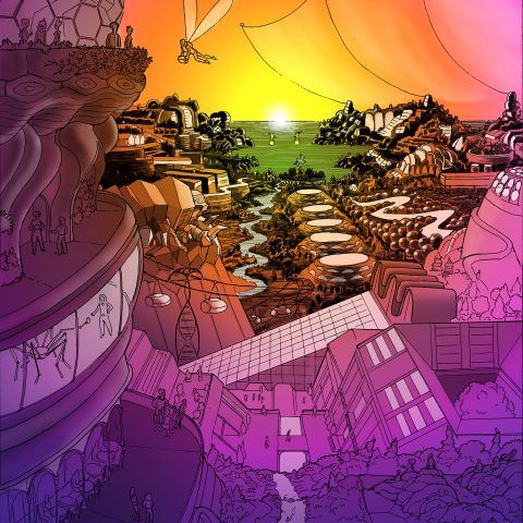 Pen and ink illustration with digital color, Jewel of the Boreal by Marc Ngui