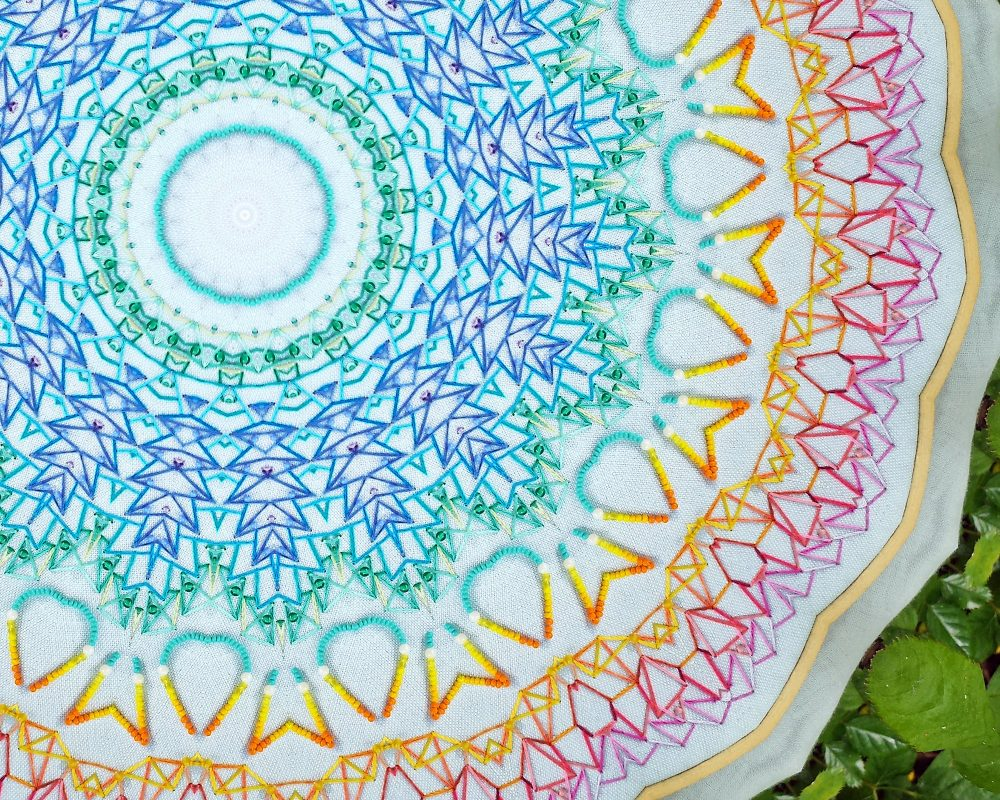 Closeup of a koleidoscope filtered photo of the mandala.