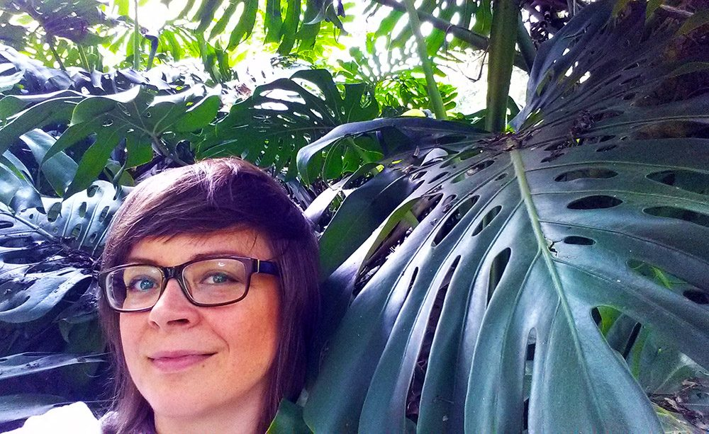 Portrait with a philodendron plant in the Mexican jungle.