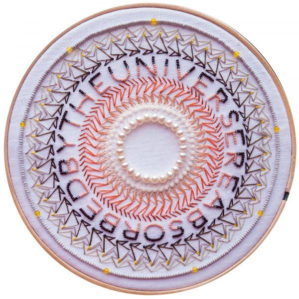 Embroidered and beaded mandala