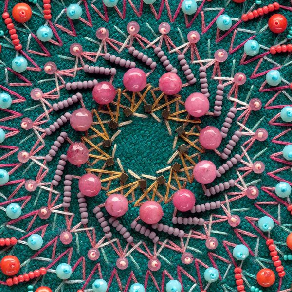 The Universe Provides mandala 4 teal silk orange brown beads