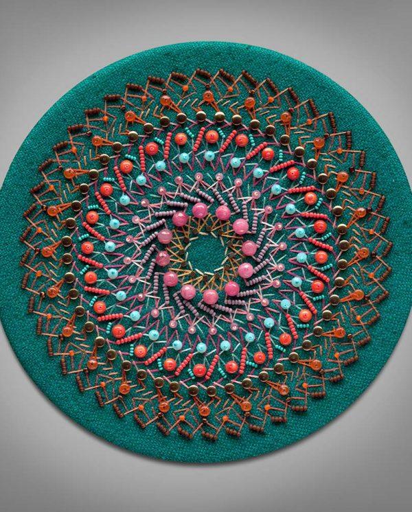 The Universe Provides mandala 4 teal silk orange brown beads