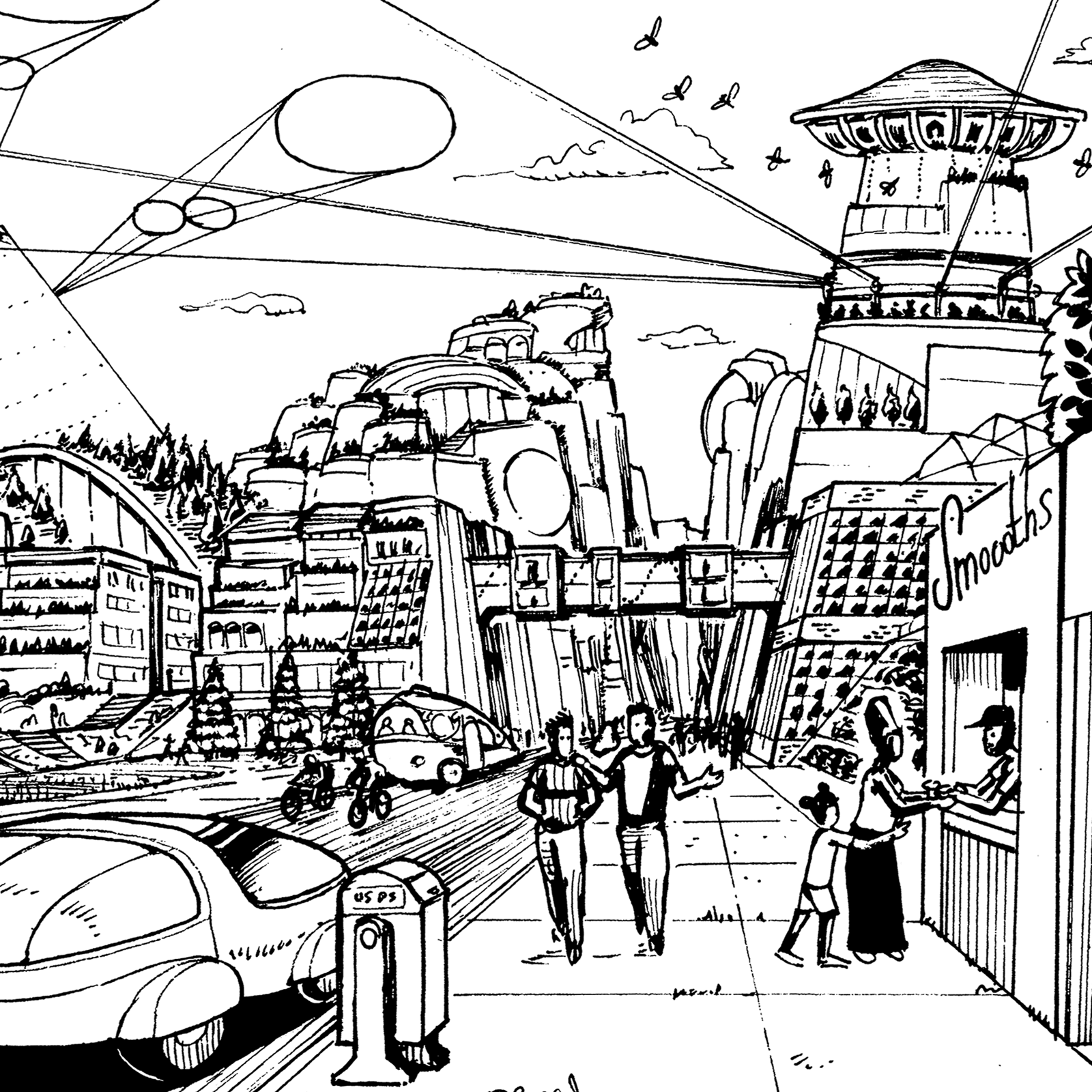 Drawing of futuristic city street by Marc Ngui