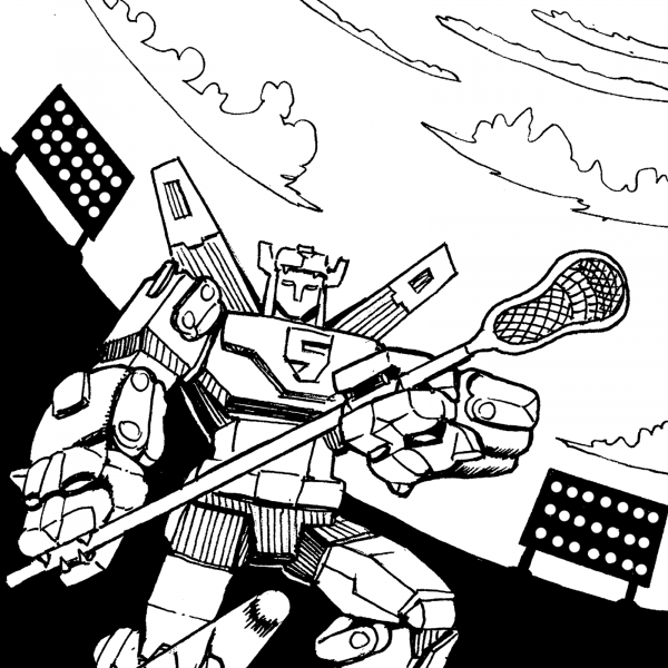 Voltron playing lacrosse in Dee Double Dub by Marc Ngui