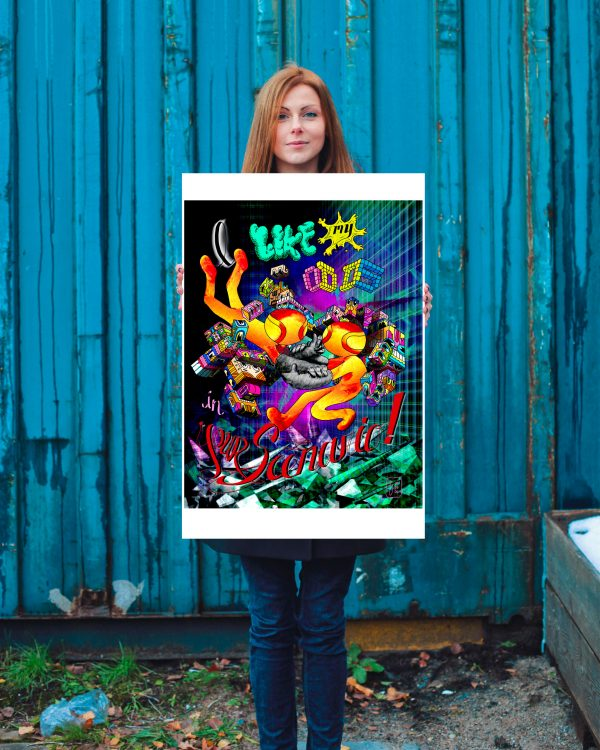 """View of the """"I Like My Odds in Your Scenario"""" artwork printed as a 24 x 36 inches poster."""
