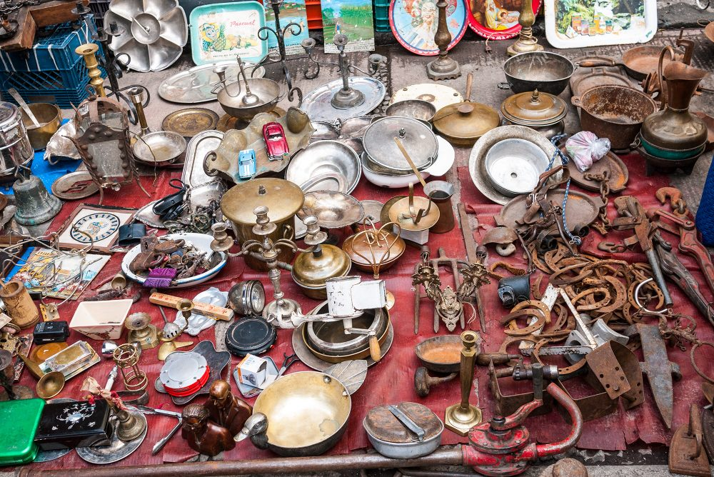 Metal objects laid out for sale