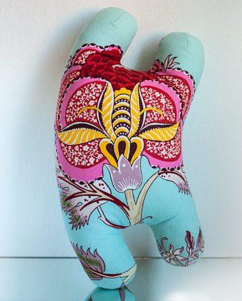 Happy Sleepy Garden Diva art toy with flower fabric